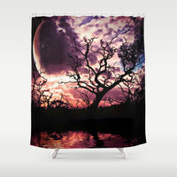 Dark Lunar Shower Curtain by Webgrrl