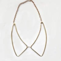 Vintage Brass Outline Collar Necklace
