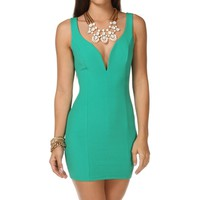 Green Plunging Neckline Short Dress