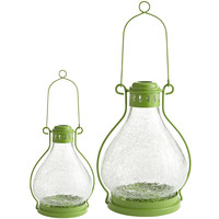 Green Crackle Lanterns