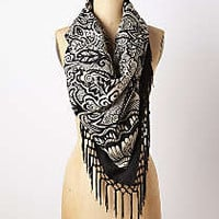 Madison Tassel Scarf by Anthropologie Black & White One Size Scarves