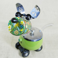 snack server robot dog - BIRDIE - Reclaim2Fame - assemblage sculpture