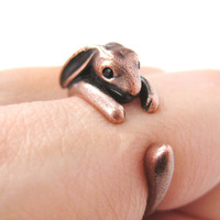 Bunny Rabbit Animal Wrap Around Ring in Copper | Sizes 4 to 9