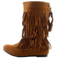 West Blvd Womens LIMA MOCCASIN Boots 3-Layer Fringe Tribal Indian Winter Faux Suede Leather Shoes