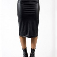 S5034-12-3 Leather Pencil Skirt Apparel Shorts & Skirts BLACK Bare Feet Shoes