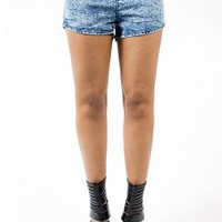 7142SH-2-4 Acid Wash Boy Shorts Apparel Shorts & Skirts BLUE Bare Feet Shoes
