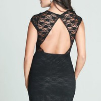 Black Short Sleeve Lace Mini Dress w/ Open Back #lbd #lace #openback