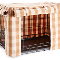 Tan Buffalo Check Crate CoverFRENCH LAUNDRY HOME