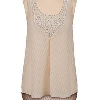 high-low textured chiffon tank with sequins