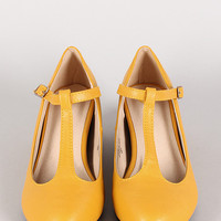 Bobby-7 T-Strap Mary Jane Round Toe Wedge