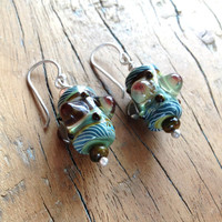 Voodoo Magic Tribal Lampglass earrings, artisan earrings sterling silver earrings, earthy bohemian jewelry.