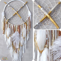 Happiness Heirloom- Gold Dust- Large Native Style Painted Driftwood Dreamcatcher Mobile