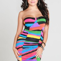 Multicolor Rainbow Sleeveless Bodycon Dress w/ Sequin Neck #rainbow #bodycon #sexy