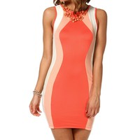 CoralNudeIvory Colorblock Hourglass Dress
