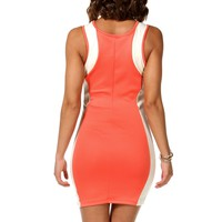 Coral/Nude/Ivory Colorblock Hourglass Dress