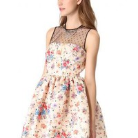 Bqueen Mesh Splicing Flower Sleevelee Dress S013707