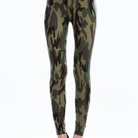 Camo N Faux Leather Leggings