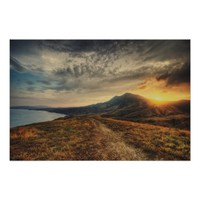 Crimea Landscape and Golden Sunset Poster Art