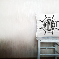 Ship wheel monogram pillows decorative throw pillows monogrammed letter pillows monogrammed throw pillows outdoor pillow 20x20 inches pillow