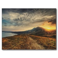 Crimea Landscape and Golden Sunset Postcard