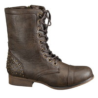 lace up stud embellished combat boot
