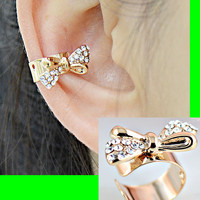Gold And Rhinestone Bow Ear Cuff (Single, No Piercing)