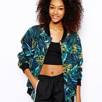 American Apparel Jungle Print Bomber Jacket