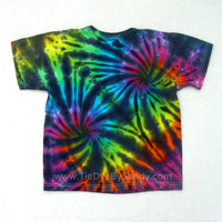 Tie Dye Shirt Child Medium Inverted Rainbow Spiral with black