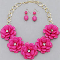 Pink Blossoms Necklace & Earring Set from P.S. I Love You More Boutique