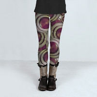 Futuristic Red Circles Pattern by Daniel Ferreira-Leites (Leggings)