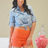 Sweet Escape Crochet Shorts - Coral