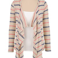 open front striped hooded cardiwrap