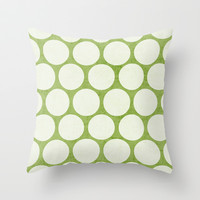 green and white polka dots Throw Pillow by her art
