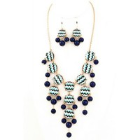Navy-Turquoise Chevron Bubble Necklace