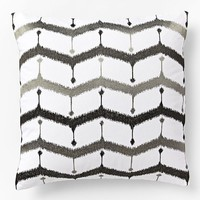 Embroidered Chevron Lattice Pillow Cover - Slate