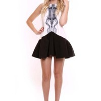 Black & White Sleeveless Skater Skirt Dress w/ Edgy Print #love #want #need #wish #cute #edgy #chic #sexy