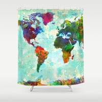 Abstract World Map Shower Curtain by Gary Grayson