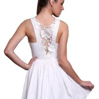 White Sleeveless Dress w/ Bow Front & Lace Back #lace #floral #chic #love #want #need #wish #cute