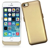 D & K Exclusives® Gold 2400mAh iPhone 5 / 5S Battery Case Extended Back Up Power Bank + Lightning Charging Port +Slim Fit Slider Design + Full Body Protection + On/Off Switch LED Battery Level Indicator, Compatible with AT&T, T-Mobile, Verizon, Sprint