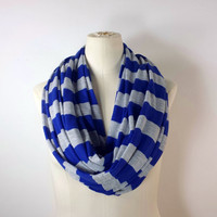 BLUE STRIPED Infinity Scarf - Blue and Gray Eternity Scarf - ECO Friendly Tencel - Soft