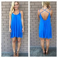 Blue To The Back Jersey Dress