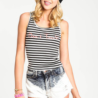 CROPPED GRAPHIC STRIPED TOP