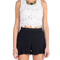 Lush Clothing - Floral Lace Sleeveless Crop Top