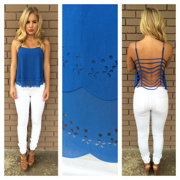 Royal Blue String Back Tank