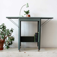 Mid Century Modern Industrial Steel Typewriter Table Bar Cart