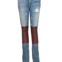Paint Splatter Jeans with Leather - Medium Washed Denim with Brown Leather