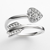 AMORE by SIMONE I. SMITH Platinum Over Silver Crystal Cupid's Arrow Bypass Ring