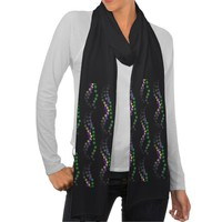 Mardi Gras Beads on Black Scarf