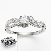 DiamonLuxe Sterling Silver Round-Cut Simulated Diamond Bypass Promise Ring