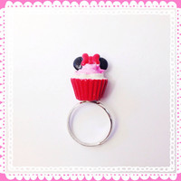 Handmade Light Pink Minnie Mouse Cupcake Adjustable Ring Silver